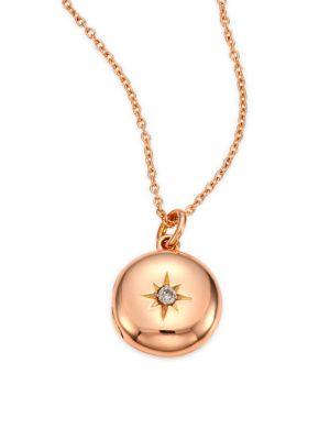 Diamond & 14K Rose Gold Small Astley Locket Necklace