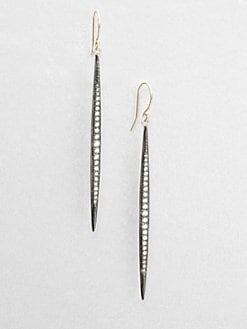 Mizuki - Diamond, Sterling Silver & 14K Yellow Gold Icicle Earrings/Medium