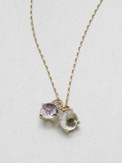 Mizuki - Rose de France Amethyst, Green Amethyst & 14K Yellow Gold Necklace