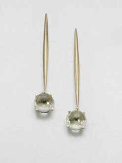 Mizuki - Green Amethyst and 14K Yellow Gold Earrings