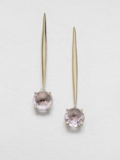 Mizuki - Rose de France Amethyst & 14K Yellow Gold Earrings
