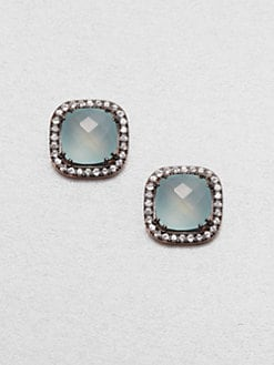 KALAN by Suzanne Kalan - 14K Rose Gold Semi-Precious Multi-Stone Button Earrings/Chalcedony