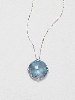 KALAN by Suzanne Kalan - 14K White Gold Blue Topaz Pendant Necklace