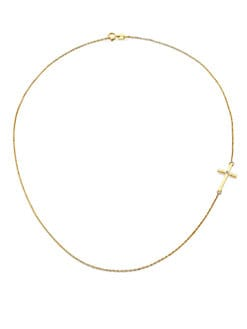 Mizuki - 14K Yellow Gold & Diamond Side Cross Necklace