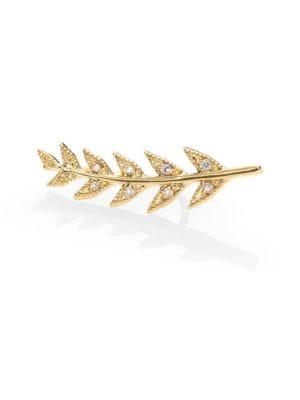 Image of Sea of Beauty Diamond & 14K Yellow Gold Branch Single Earring
