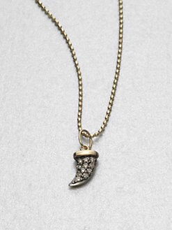 Sydney Evan - Pavé Diamond 14K Gold Horn Pendant Necklace