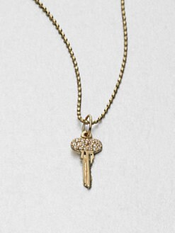 Sydney Evan - Pavé Diamond & 14K Gold Key Pendant Necklace