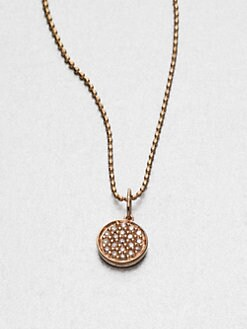 Sydney Evan - Pavé Diamond & 14K Rose Gold Disc Pendant Necklace