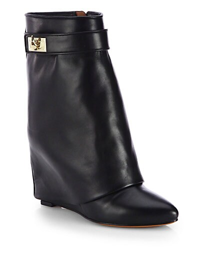 Leather Mid-Calf Wedge Sheath Boots