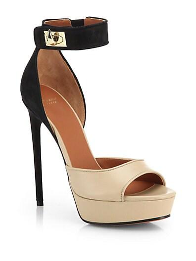 Bicolor Leather  Suede Platform Sandals