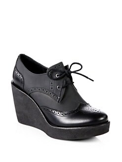 Pierre Hardy - Leather Lace-Up Wedge Oxfords