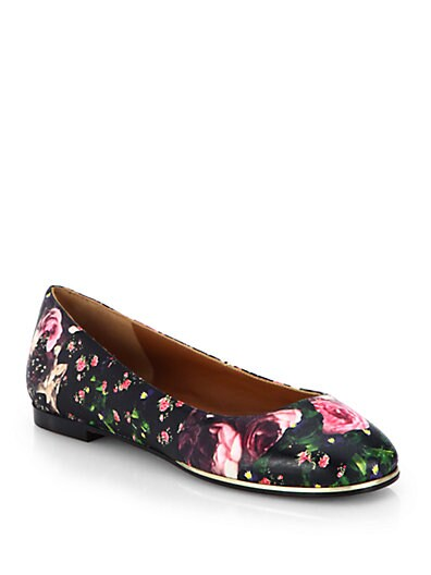 Rose Camouflage-Print Leather Ballet Flats