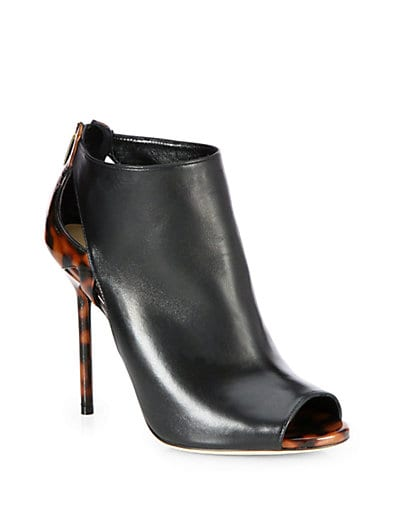 Moon Peep-Toe Leather Ankle Boots