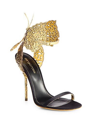 Filigree Butterfly Laser-Cut Leather & Satin Sandals