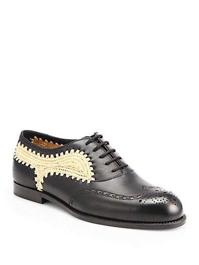 Raffia  Leather Lace-Up Oxford Shoes