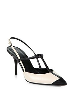 Narciso Rodriguez - Bicolor Leather T-Strap Slingback Pumps
