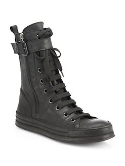Ann Demeulemeester - Leather High-Top Sneakers
