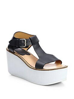 A Detacher - Somerville Leather T-Strap Platform Sandals