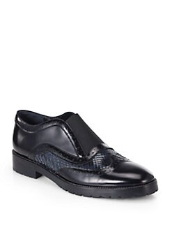 Christopher Kane - Snakeskin & Leather Derby Oxfords