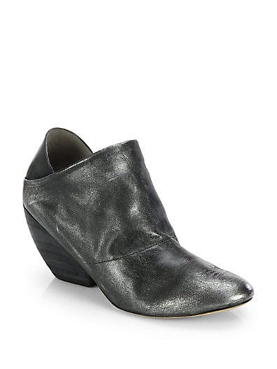 Metallic Leather Wedge Ankle Boots