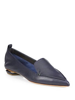 Nicholas Kirkwood - Pebbled Leather Point-Toe Loafers