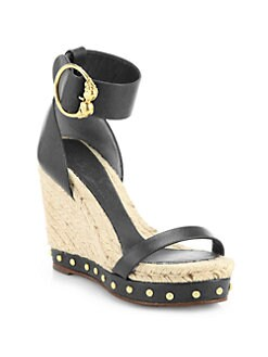 Alexander McQueen - Leather Esapdrille Wedge Sandals