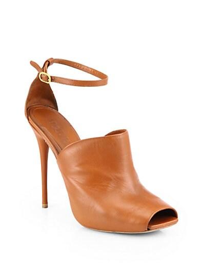 Leather Peep-Toe Sandals