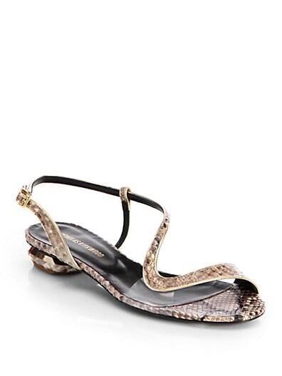 Asymmetrical Snakeskin Sandals