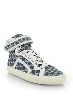 Pierre Hardy - Geometric-Print Denim High-Top Sneakers