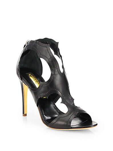 Icon Cutout Leather Sandals