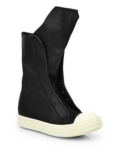 cfdd91986f6 Rick Owens Ramones Leather Sneaker Boots Blk/White on PopScreen
