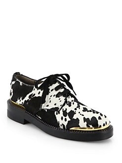 Marni - Printed Calf Hair Lace-Up Oxfords