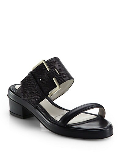 Stingray-Embossed Leather Sandals
