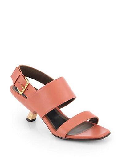 Leather Gold-Heel Slingback Sandals