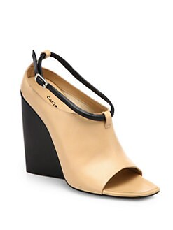 Costume National - Leather Open-Toe Wedge Ankle Boots