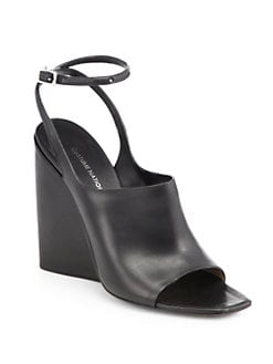 Costume National - Leather Ankle-Strap Wedge Sandals