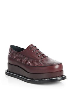 Jil Sander - Runway Lace-Up Leather & Python Platform Oxfords