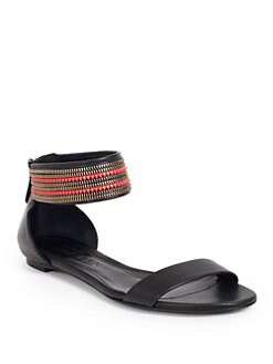 Alexander McQueen - Leather Embellished Ankle-Strap Flat Sandals