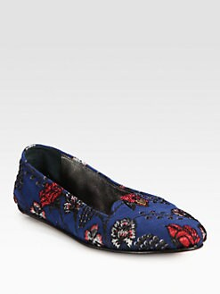 Rochas - Embroidered Jacquard Smoking Slippers