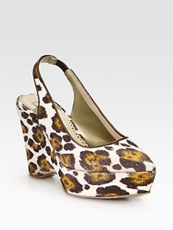Stella McCartney - Leopard-Print Canvas Slingback Wedges