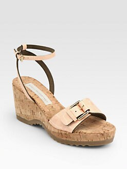 Stella McCartney - Linda Crocodile-Stamped Faux Leather Cork Wedge Sandals