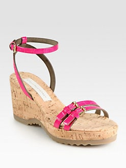 Stella McCartney - Linda Crocodile-Print Faux Leather Cork Wedges