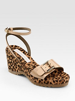 Stella McCartney - Linda Leopard-Print Cork Wedge Sandals