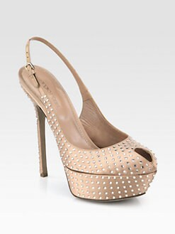 Sergio Rossi - Satin Swarovski Crystal-Coated Platform Slingback Pumps