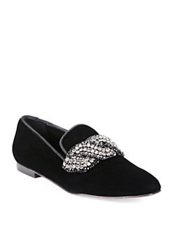 Stella McCartney - Jeweled Velour Velvet Smoking Slippers