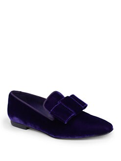 Stella McCartney - Velour Velvet Bow Smoking Slippers