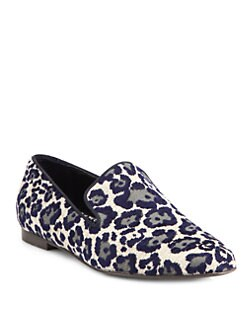 Stella McCartney - Textured Velvet Leopard Print Smoking Slippers