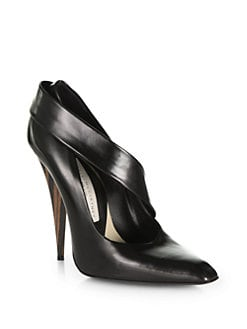 Stella McCartney - Wooden Heel & Faux Leather Pumps