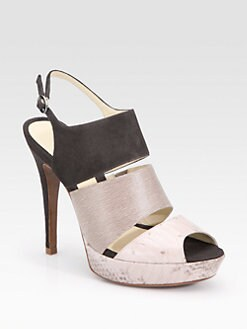 Alexandre Birman - Three-Band Suede & Snakeskin Slingback Sandals