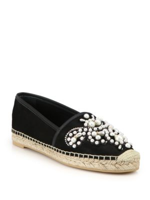 Pearl & Embroidery Suede Espadrilles